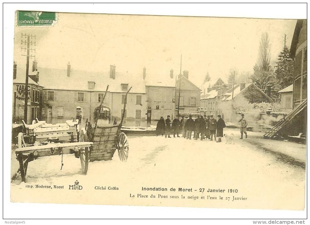 Imp Moderne, Cliché Coffin- Inondation De Moret 27 Janvier 1910, La Place Du Pont Sous La Neige Animée - 2 Scans - Moret Sur Loing