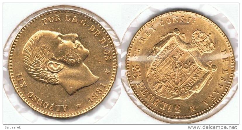ESPAÑA ALFONSO XII 25 PESETAS 1881 ORO GOLD A47 - [ 1] …-1931 : Reino