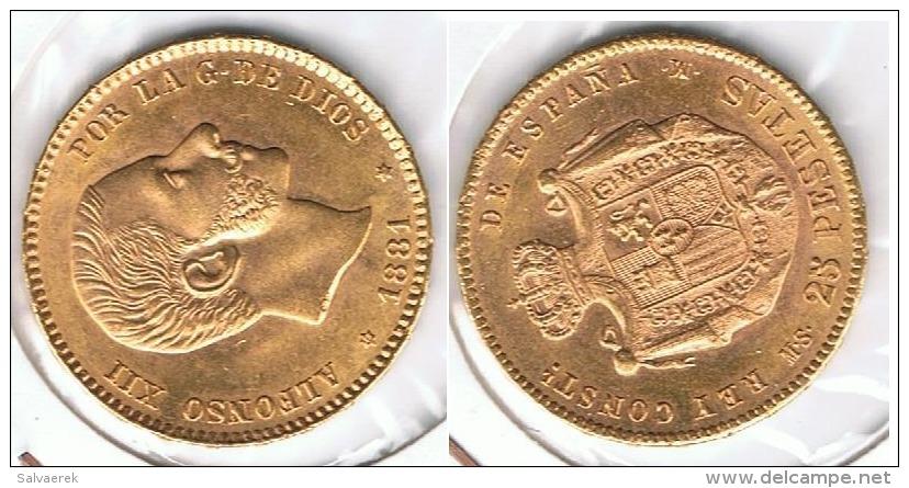 ESPAÑA ALFONSO XII 25 PESETAS 1881 ORO GOLD A49 - [ 1] …-1931 : Reino