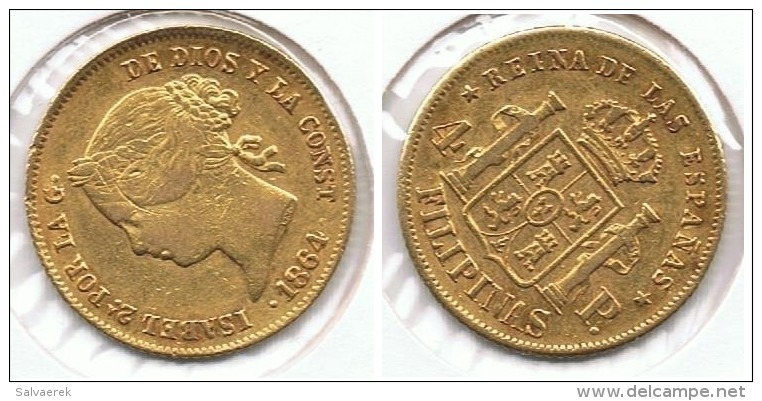 ESPAÑA FILIPINAS ISABEL II 4 PESOS  1864 MANILA  ORO GOLD A22 - [ 1] …-1931 : Reino