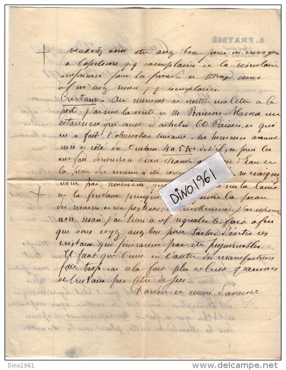 VP3524 - Lettre De Mr A. FRAYSSE Agent Spécial Des Manufacture De L´Etat à BUENOS AIRES & PARIS Concernant  Tabac - Documents