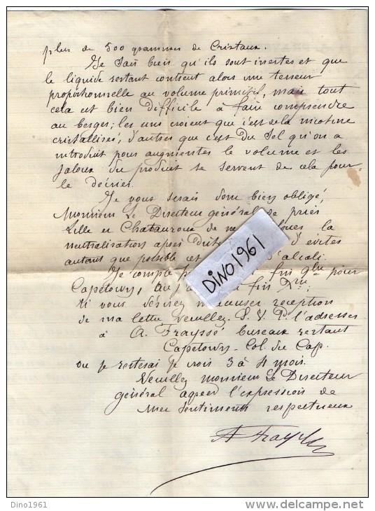 VP3525 - Lettre De Mr A. FRAYSSE Agent Spécial Des Manufacture De L´Etat à BUENOS AIRES & PARIS Concernant  Tabac - Documents
