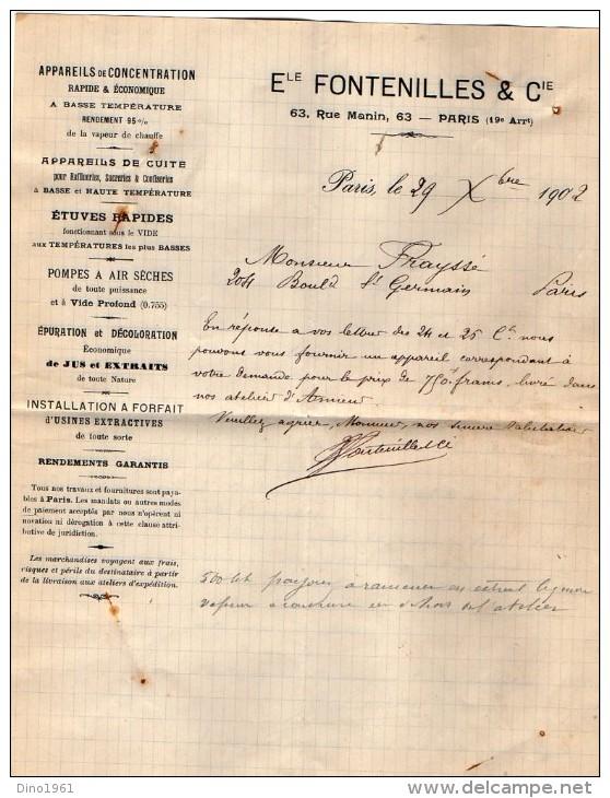 VP3527 - Lettre - Appareils De Concentration , De Cuite , Pompes ...Ele . FONTENILLES & Cie à PARIS - Documents