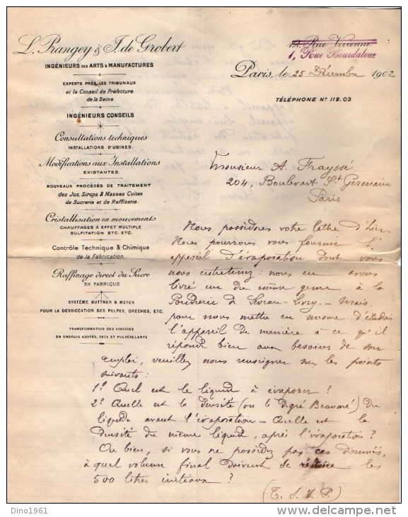VP3528 - Tabac - Lot De Documents -  Ingénieurs Des Arts & Manufactures L.PRANGEY & J. De GRODET à PARIS Rue Bourdaloue - Documents