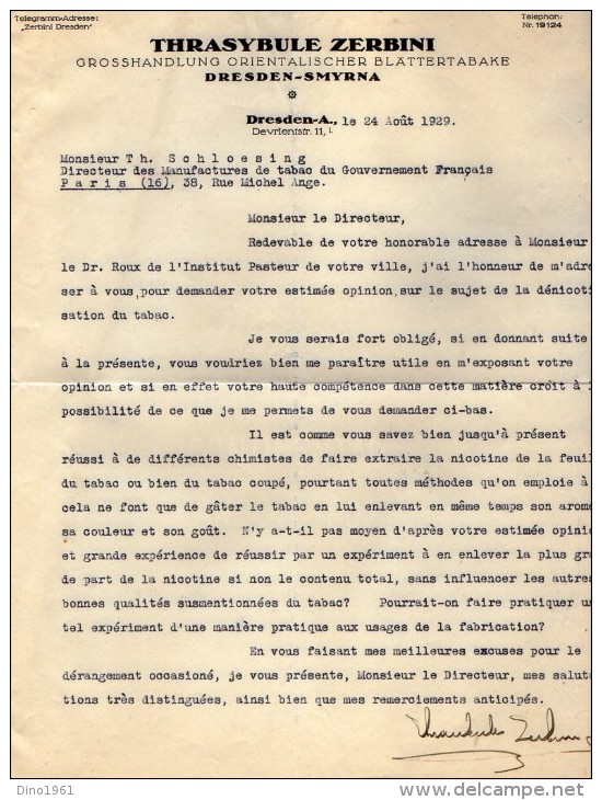 VP3535  - Tabac - Lettres - Mr ZERBINI à DRESDEN Pour Mr SCHLOESING De PARIS Et Concernant La Dénicotisation Du Tabac - Documents