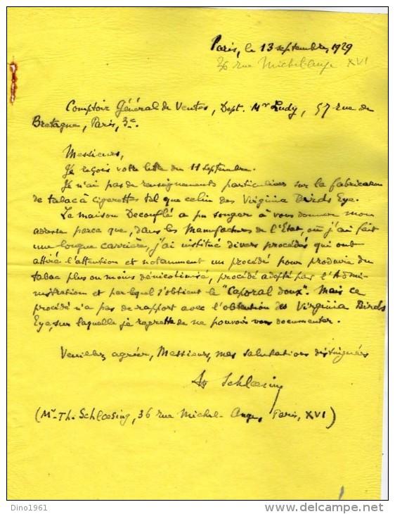 VP3536  - Tabac - Lettres -  Comptoir Général Des Ventes E.R. REINHARD à PARIS Rue De Bretagne - Documents