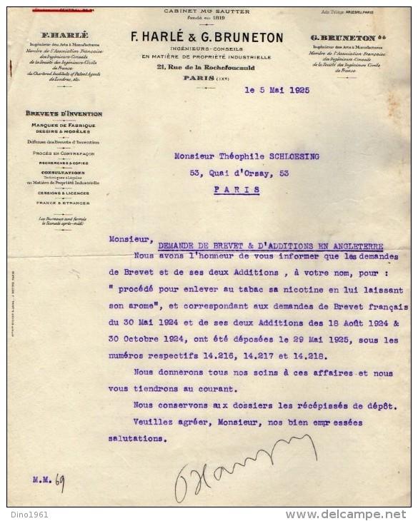 VP3540  - Tabac - Lettre De Mrs F.HARLE & G.BRUNETON Ingénieurs - Conseils à Paris Rue De La Rochefoucauld - Documents