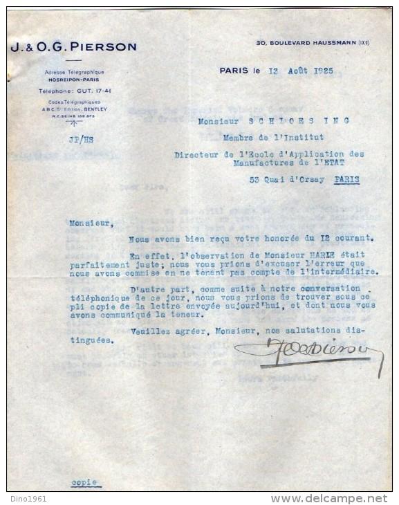 VP3545 - Tabac - Lettre De J.& O.G. PIERSON à PARIS Pour Mr Th. SCHLOESING Directeur Des Manufactures De L´Etat - Documents