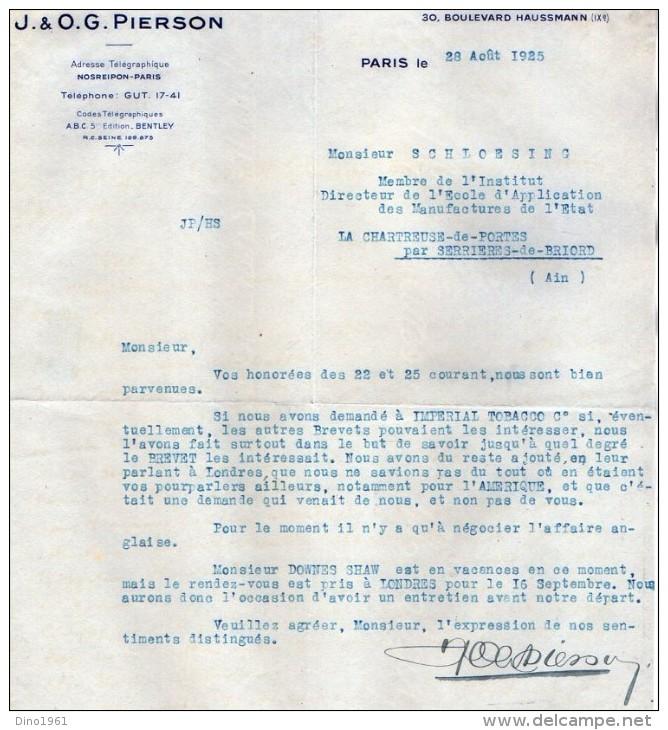 VP3548 - Tabac - Lettre De J.& O.G. PIERSON à PARIS Pour Mr Th. SCHLOESING Directeur Des Manufactures De L´Etat - Documents