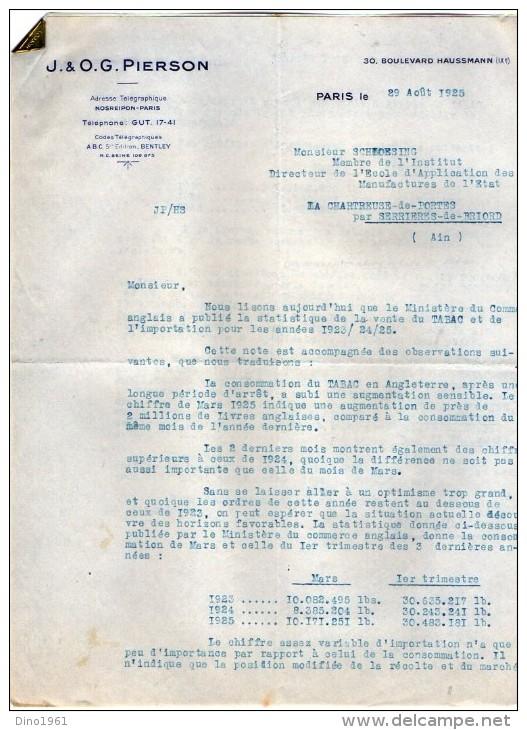 VP3549 - Tabac - Lettre De J.& O.G. PIERSON à PARIS Pour Mr Th. SCHLOESING Directeur Des Manufactures De L´Etat - Documents