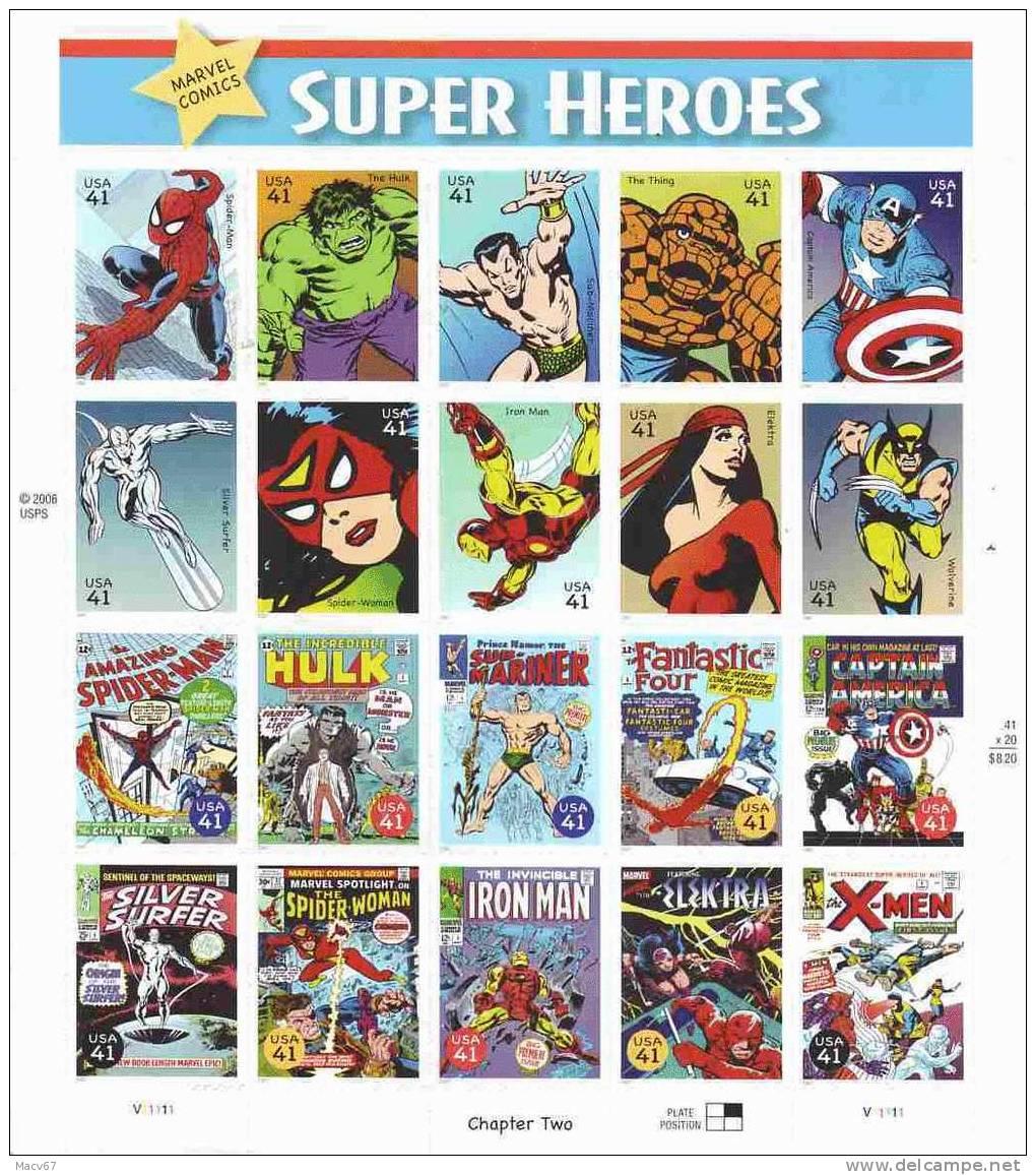 U.S.  4159  COMIC BOOK SUPER HEROS  ** - Sheets