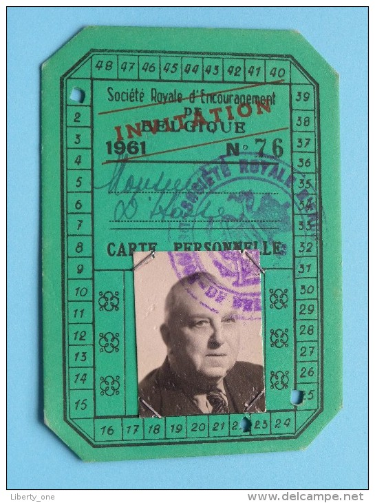 Société Royale D'Encouragement Belgique INVITATION N° 76 Carte Personelle Anno 1961 ( Zie Foto´s Voor Details ) ! - Organizaciones