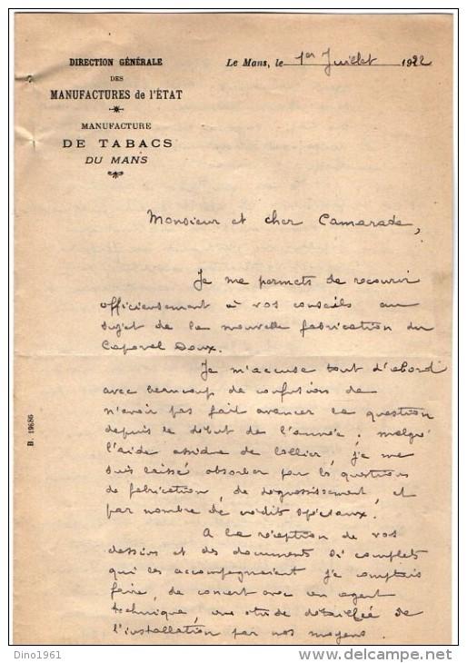VP3554 - Lettres De La Manufacture Des Tabacs Du MANS  Pour Mr Th. SCHLOESING Directeur Des Manufactures De L´Etat - Documents