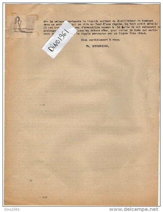 VP3554 - Tabac -  Lettre De  Mr Th. SCHLOESING Directeur Des Manufactures De L´Etat à PARIS Pour  Mr BIZOT Au MANS - Documents