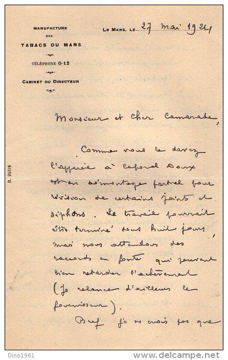 VP3556 - Lettre De La Manufacture Des Tabacs Du MANS  Pour Mr Th. SCHLOESING Directeur Des Manufactures De L´Etat - Documents