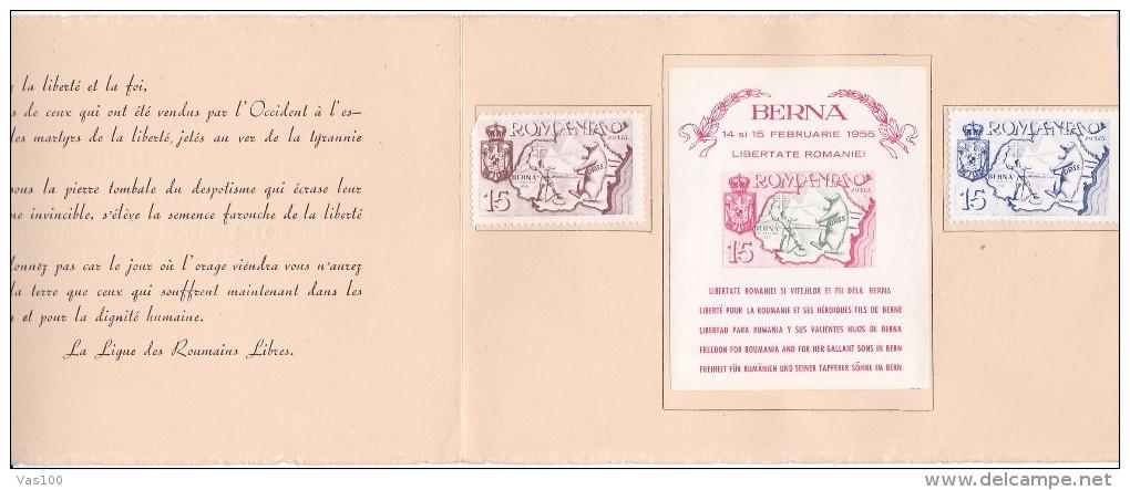 EXILES LIBERTE POUR LA ROUMANIE ET SES HEROIQUES FILS DE BERNE 1955 BOOKLET,ROMANIA. - Carnets