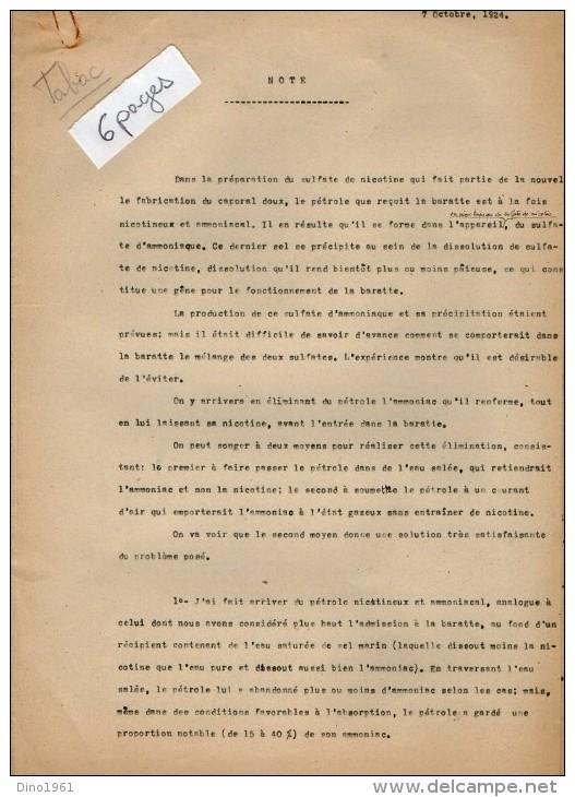 VP3564 - PARIS - 2 Notes De Mr SCHOESING Sur La Fabrication De La Nicotine Avec Des Tabacs - Documents