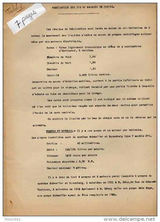 VP3564 - PARIS -  Note De Mr SCHOESING Sur La Fabrication Des Jus De Tabacs Au Magasin De CAHORS - Documents