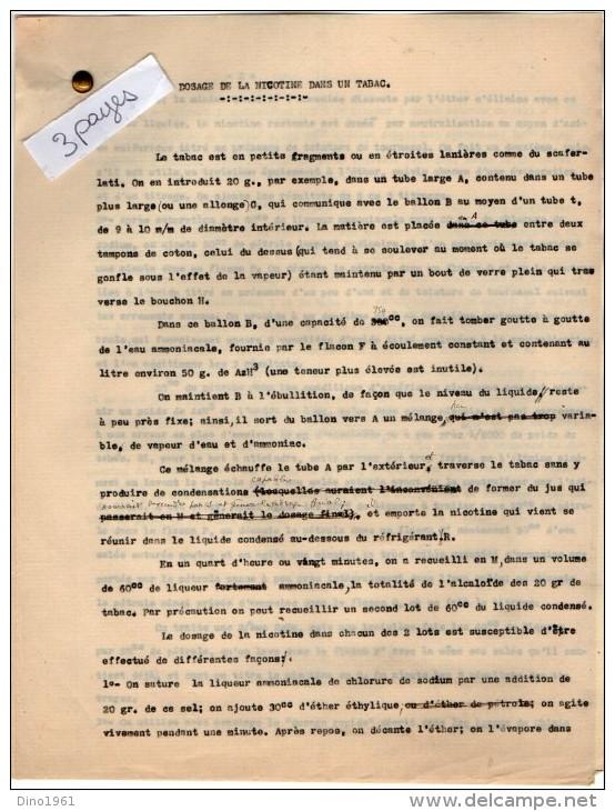 VP3566 - PARIS -  Note De Mr Th. SCHOESING Sur Le Dosage De La Nicotine Dans Le Tabac - Documents