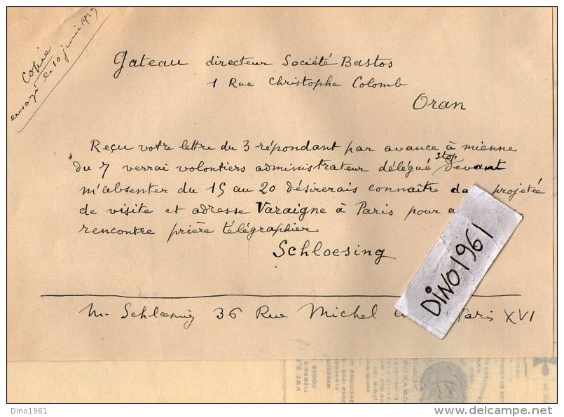 VP3573 - Tabac - Lettre Des Manufactures De Tabacs P. BASTOS à ORAN Pour  Mr Th. SCHOESING à PARIS - Documents