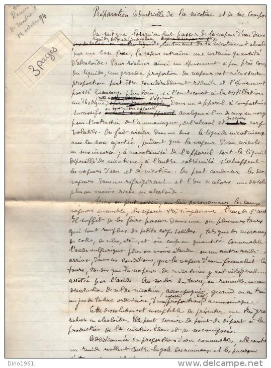 VP3577 - Copie D´un Brevet  Remis à Mr MESTRAL Ingénieur Conseil  à PARIS Sure La Nicotine - Documents