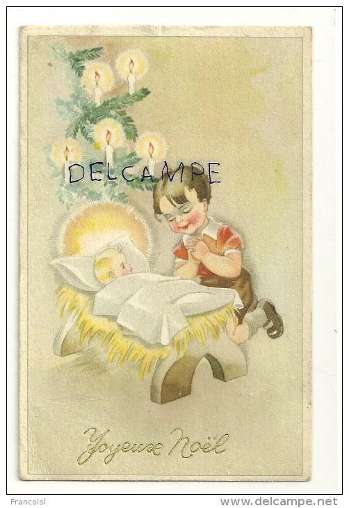 Joyeux Noël. Petit Garçon Qui Prie Devant Le Berceau De L'Enfant Jésus. Sapin Décoré. Coloprint Spécial 1627/1 - Christmas