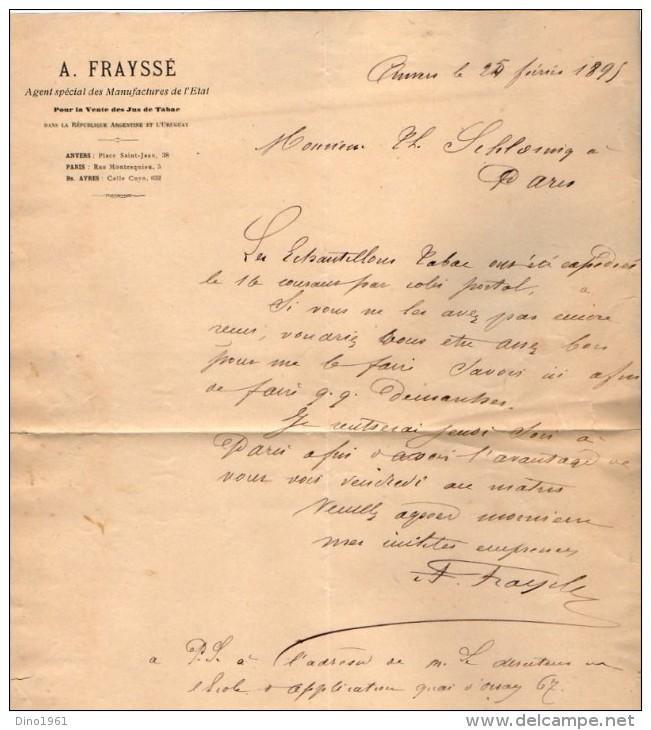 VP3580 - Tabac - Lettre De Mr  A. FRAYSSE Agent Spécial Des Manufactures De L´Etat Pour Mr SCHOESING à PARIS - Documents