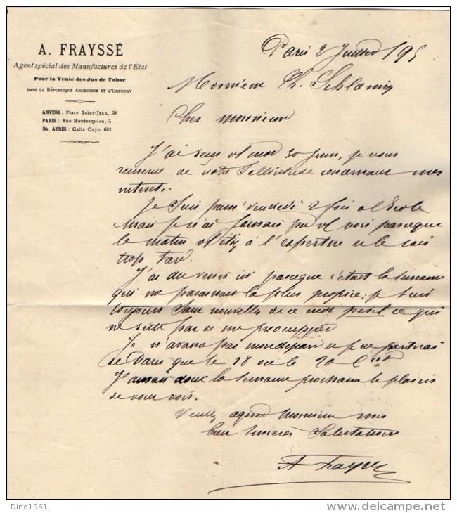 VP3582 - Tabac - Lettre De Mr  A. FRAYSSE Agent Spécial Des Manufactures De L´Etat Pour Mr SCHOESING à PARIS - Documents