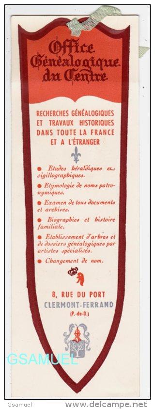 Marque Page - Office Généalogique Du Centre - Clermont-Ferrand (Puy De Dome) - (format 21 Cm Par 7,1 Cm Environ). - Marque-Pages