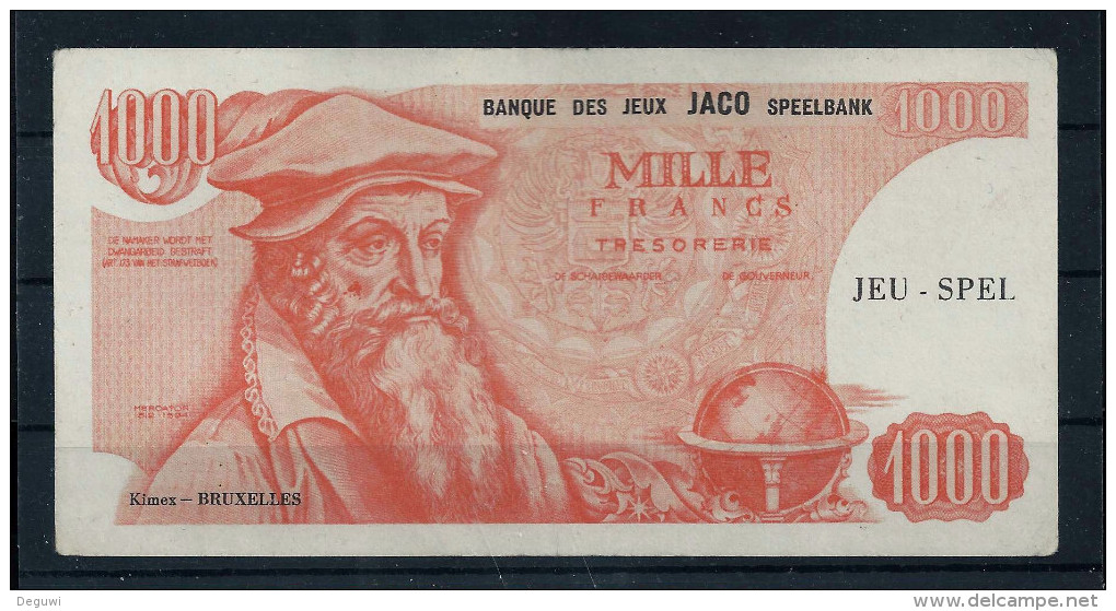"""Spielgeld, Play Money, Billet Scolaire """"KIMEX-Belgien"""" 145 X 74 Mm, 1000 F, Eins. Druck, Paper, RRR, Little Used - Altri"""