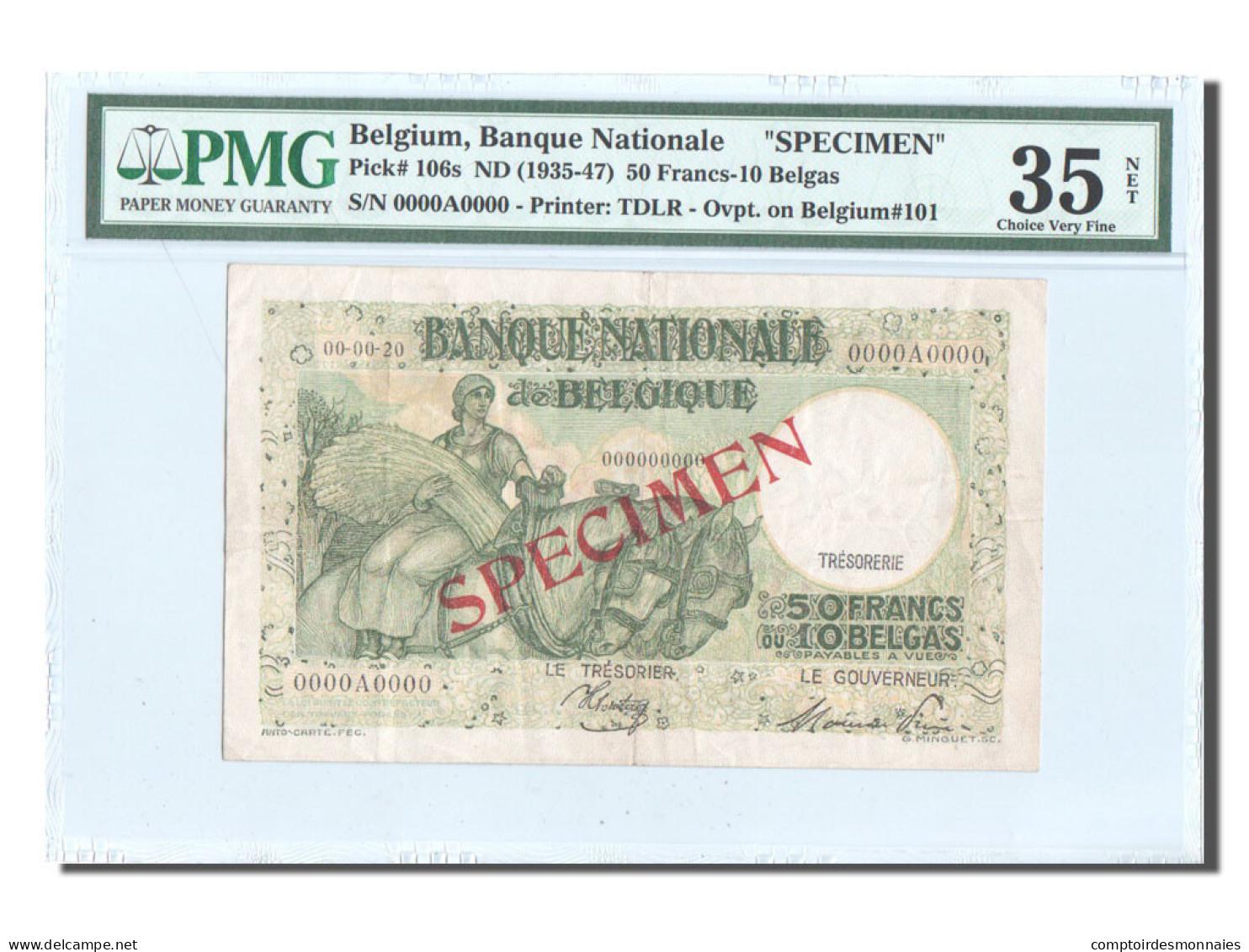 Belgique, 50 Francs-10 Belgas, SPECIMEN, KM:101, PMG Ch VF35 - [ 4] Occupation Belge De L'Allemagne