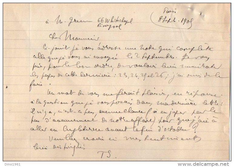 VP3588 - Tabac - Lettre + Note De Renseignements à L'intention De Mr GREEN De LIVERPOOL - Mr SCHOESING à PARIS - Documents