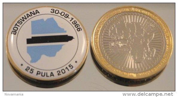 Botswana 25 Pula 2015 Bimetal Couleurs Drapeau - Botswana