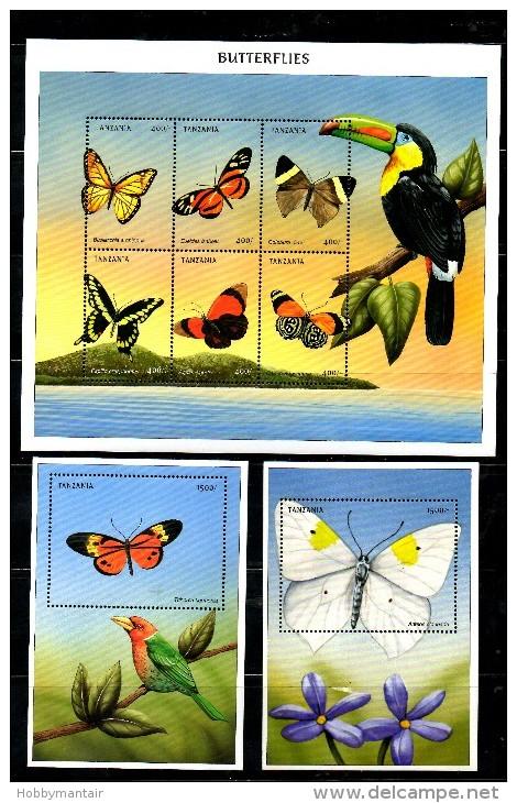 TANZANIA, 1999, BUTTERFLIES, S/S+2M/S, MNH** - Butterflies