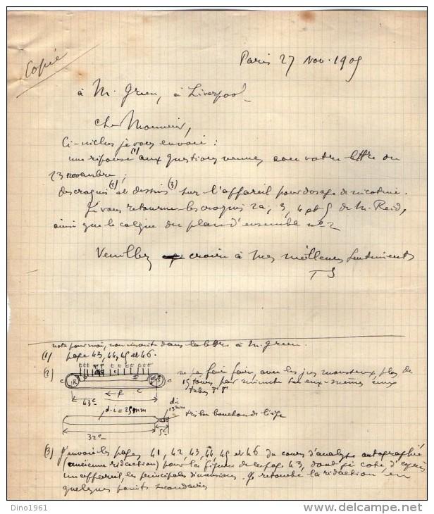 VP3591 - Tabac - Lettre + Note De Renseignements à L´intention De Mr GREEN De LIVERPOOL - Mr SCHOESING à PARIS - Documents
