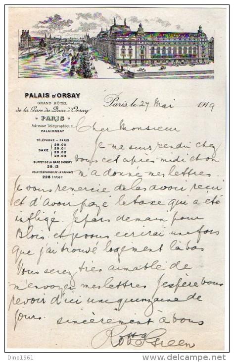 VP3597 - Tabac -  Lettre De Mr GREEN Au Palais D'Orsay Grand Hotel De La Gare Du Quai D'Osay  - Mr SCHOESING à PARIS - Documents