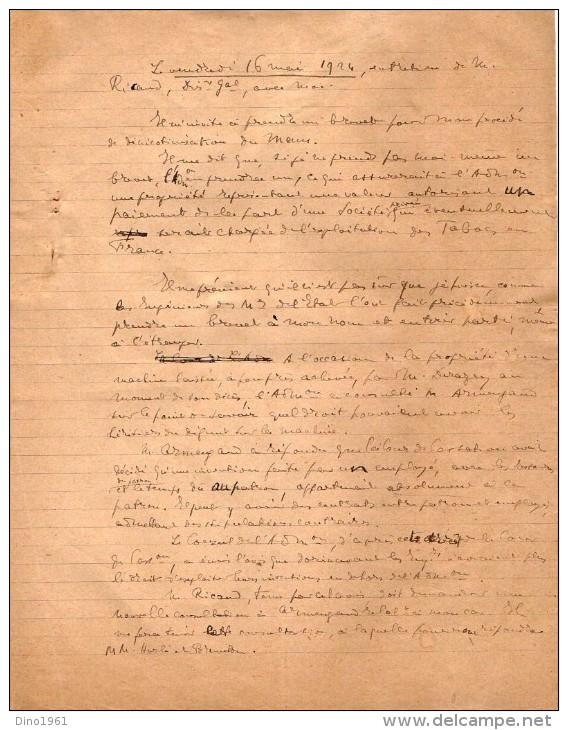 VP3599 -  Tabac - Note De Mr Th. SCHLOESING à PARIS - Documents