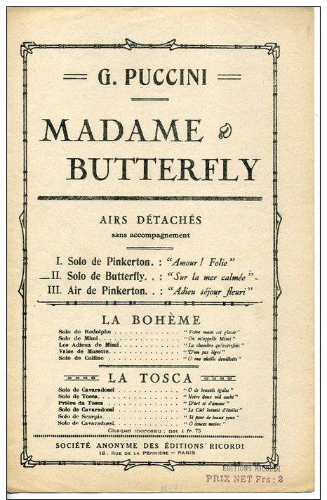 PARTITION OPÉRA MÉLODIE PUCCINI MADAME BUTTERFLY SOLO SUR LA MER CALMÉE UN JOUR UNE FUMÉE - Opéra