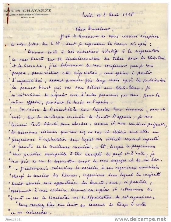 VP3606 -Tabac - Lettre De Mr Louis  CHAVANNE  à  PARIS  Pour  Mr SCHLOESING - Documents
