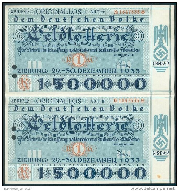 """Deutschland, Germany - """" Dem Deutschen Volk """", 2 X GELDLOTTERIE, FOTO & DOKUMENT Der NSDAP, 1933 ! - Unclassified"""