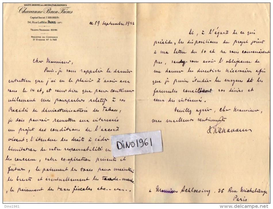 VP3621 - Tabac - Lettre De Mr  CHAVANNE BRUN Frères à PARIS Pour Mr SCHLOESING - Documents