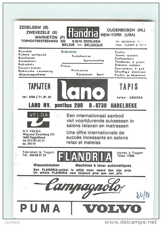 Wim MIJNGEER , Autographe Manuscrit, Dédicace . 2 Scans. Velda Lano Flandria 1978 - Radsport