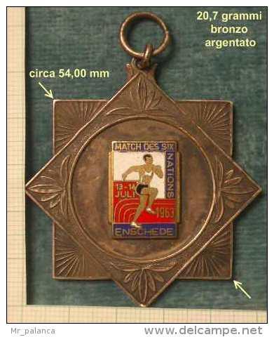 M_p> Medaglia MATCH DES NATIONS 13 - 14 JULI 1963 ENSCHEDE : Aggiornato Prezzo - Paesi Bassi