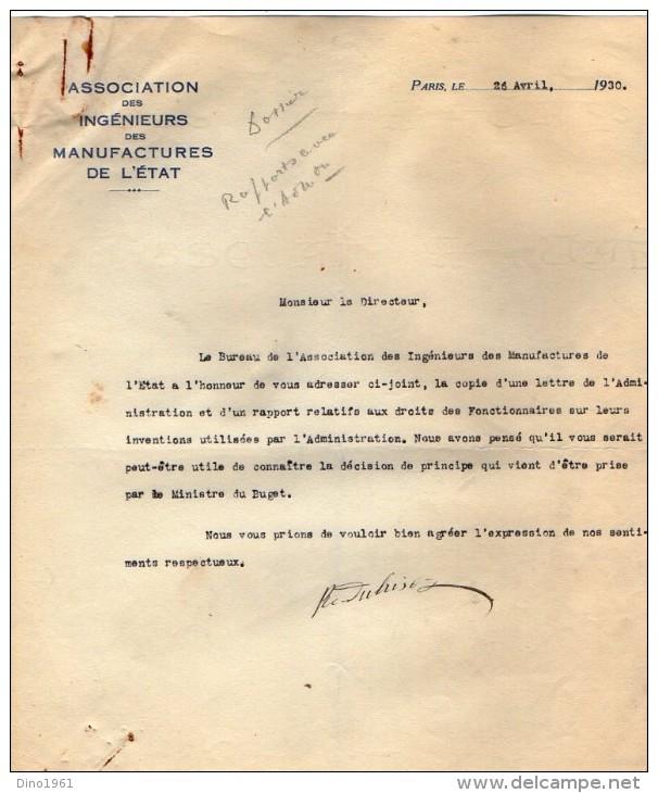 VP3629 - Tabac - Lot De Documents Des Manufactures De L´Etat & Du Ministère Au Sujet Des Inventions De Mr SCHLOESING - Documents