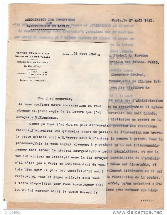 VP3631 - Lettres De L´Association Des Ingénieurs Des Manufactures De L´Etat & Du Service D´Exploitatoin à PARIS - Documents