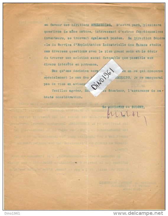 VP3632 - Lettres De Mr Le Général BOURGEOIS Sénateur & Du Ministère Des Finances à PARIS Au Sujet De Mr SCHLOESING - Documents