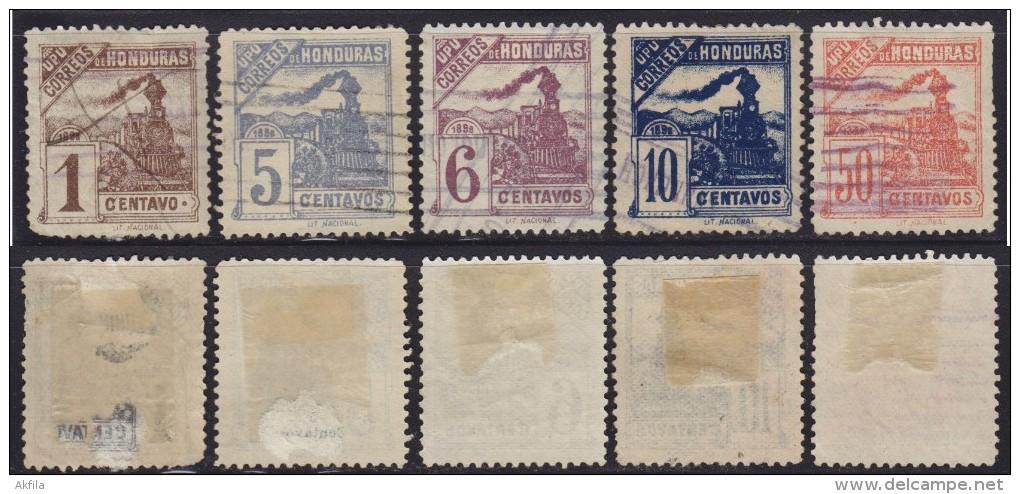 4362. Honduras, 1898, Trains - Locomotives, Used (o) Michel 85, 87-89, 91 - Honduras
