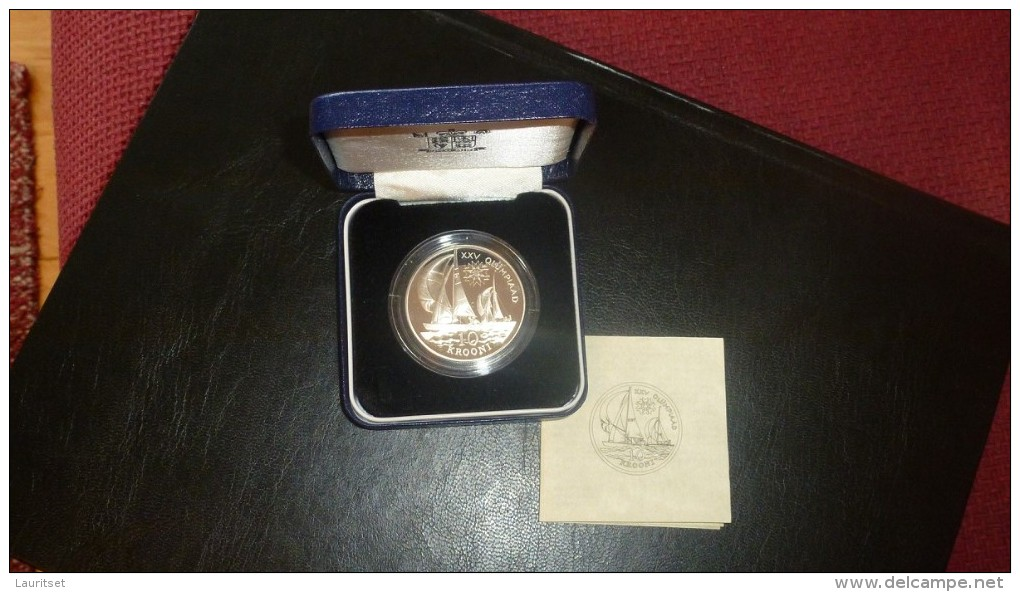 ESTLAND ESTONIA Estonie 1992 Silver Coin Barcelona Olympic Games  999/1000 Silbermünze + Original Box +sertificate - Estonie