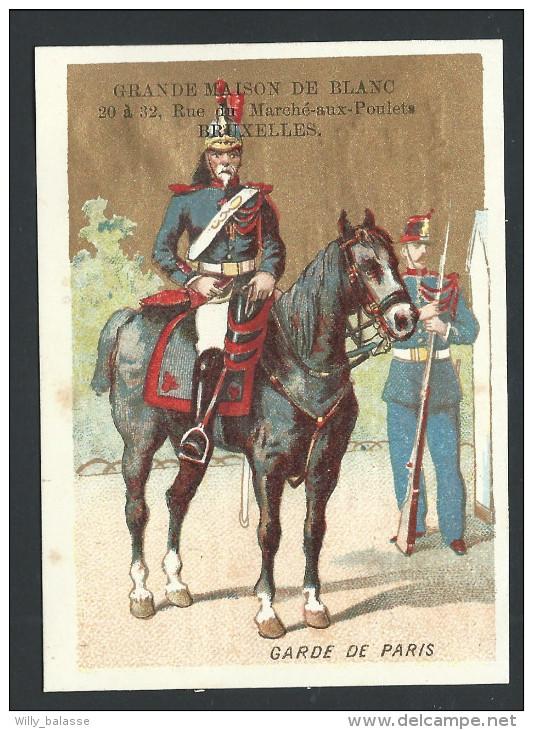 """Chromo Ancien Publicitaire - GRANDE MAISON DE BLANC - Bruxelles - """" Garde De Paris """" - Soldat - Fond Doré  // - Non Classés"""