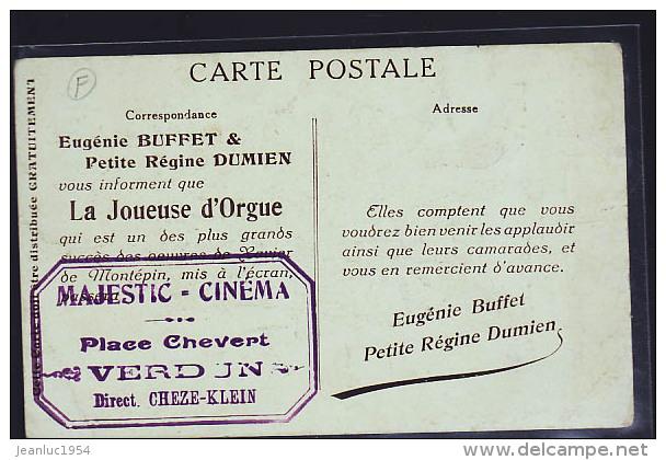 VERDUN JOUEUSE D ORGUE ET TAMPON VERDUN AU DOS MAJECTIC CINEMA - Petits Métiers à Paris